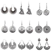 Ethnic Tribal Vintage Antique Silver Hollow Out Round Drop Earrings For Women
