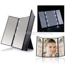 Portable Tri-sided 8 LED Beauty Vanity LED Makeup Cosmetic Stand Mirror