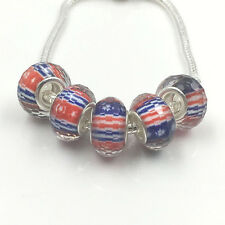 stars and stripe Silver Big hole spacer beads Fit Charm European Bracelet SZ255