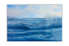 Blue Ocean Waves Wall Posters Art Prints Home Decoration Oil Painting Re-print
