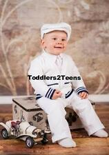 Baby Boy Smart Outfit White Corduroy Trousers Birthday Party Special Occasion