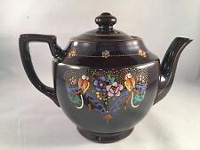 "Brown Floral Bird Teapot 6"" Tall Made in Occupied Japan"
