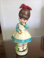 """Norcrest Japan Ceramic Figurine Girl with Hair Bow & Cookies 6-1/4"""" Tall"""