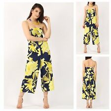 WOMENS LADIES SLEEVELESS FLORAL PRINT BANDEAU BOOB TUBE FLARED CULLOTTE JUMPSUIT