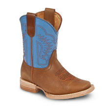 Kids Youth Brown/Blue Rodeo Western Leather Cowboy Boots BONANZA 3100 Size 7-1.5