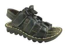 NEW BOYS FAUX LEATHER SUMMER HOOK AND LOOP STRAPPY SANDALS BLACK SIZE 8.5-12