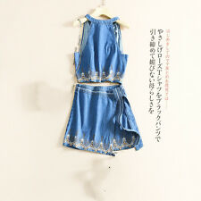 summer delicate embroidery blouse shirt + skirt sleeve cowboy jean dress female