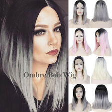 Glueless Lace Front Wig Cosplay Party Women Long Ombre Wavy Straight Bob Wigs b2