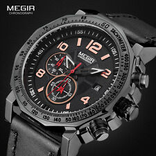 Mens Chronograph Luminous Leather Date Indicator Army Sport Quartz Wrist Watches