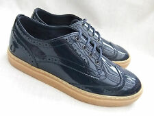 NEW FRED PERRY B6252W DAVIES WOMENS CARBON BLUE PATENT LEATHER BROGUE SHOES