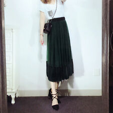 Pleuche personality Net yarn pleated A-line splicing skirt dress female spring