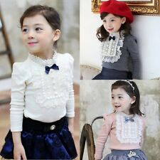 Toddler Baby Kids Girl Lace Bowknot Cotton Long Sleeve Shirt Blouse Top 2-8Y AU