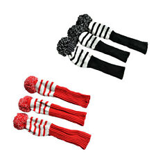 3x Retro Stripe Knit cotton Sock Headcover Golf Club Head Wood Covers Protectior