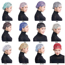 Women's Muslim Islamic LACE Under Scarf Hijab Bonnet Cap Headwear Inner Hat wrap