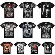 Fashion 2017 Mens Rock Punk 3D Skull Eagle Wolfs O-Neck Tops Casual Gym T Shirt