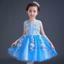 New Summer Kids Young Girls Sweet Flower Fairy Tale Princess Tutu Dress 4-14Y