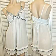 NWT $68 IN BLOOM by JONQUIL BABYDOLL GOWN MED/LRG/X-LRG IVORY/BLACK BRIDAL CHEMI