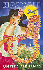 Hawaii United Air Vintage Illustrated Travel Poster Print on canvas