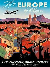 Fly Europe airways Vintage Illustrated Travel Poster Print on canvas 90cm