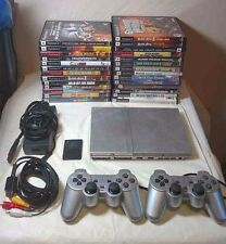Sony PlayStation 2 (SCPH-79001) PS2 Slim Silver Console Bundle 27 Games Tested