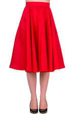 Banned Apparel Swing Circle Retro 50s Rockabilly Pin Up Midi Skirt Red Black