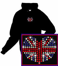 Union Jack ~ Great Britain ~ London Rhinestone Hoodie Sweatshirt S, M, L, XL, 2X