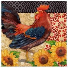 Poster Print Wall Art entitled Roosters and Sunflowers I