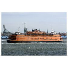 Poster Print Wall Art entitled Staten Island Ferry in the harbor at New York