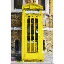 Poster Print Wall Art entitled Yellow Phone Booth, Oil Painting Series