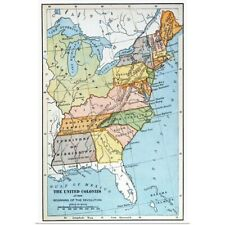 Poster Print Wall Art entitled United States Map, c1791