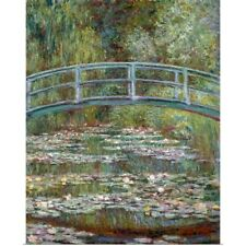 Poster Print Wall Art entitled Bridge over a Pond of Water Lilies