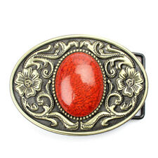 Men Classic Vintage Cowboy Arabesque Turquoise Metal Belt Buckle Western Buckles
