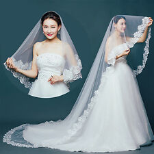 White Ivory Bridal Cathedral Veil 1T Lace Edge Bridal Wedding Women Accessories