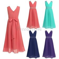 Flower Girl Princess Chiffon Dress Kids Party Wedding Pageant Formal PromGown