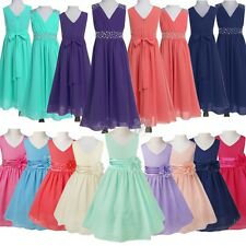 Girl Dress Flower Chiffon Bridesmaid Wedding Party Pageant Ball Gown Tulle Dress