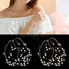 Women Charm Pearl Chain Choker Collar Bib Necklace Earring Bracelet Jewelry Set