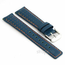 StrapsCo Rally Racing Perforated Leather Watch Band Strap in Blue