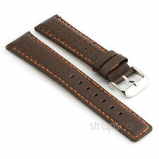 StrapsCo Rally Racing Perforated Leather Watch Band Strap in Dark Brown