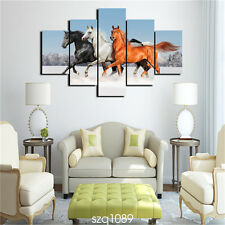 Modern Home Wall Art Deco wild Animal horse Oil Painting HD Print on Canvas 5pcs