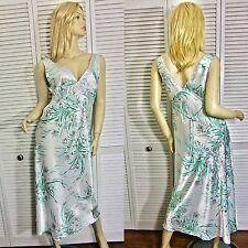 NWT $72 OSCAR de la RENTA NIGHTGOWN S/M/L/XL PEARL & GREEN FLORAL LONG CHARMEUSE