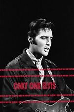 ELVIS PRESLEY on TELEVISION 1968 Photo NBC COMEBACK SPECIAL Singing with Guitar