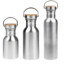 350ml/500ml/750ml - Wide Mouth - Stainless Steel Sports Water Bottle - Silver