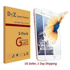 """2Pcs For iPhone 7 Plus [5.5""""] Full Coverage Tempered Glass Screen Protector Film"""