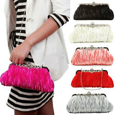 Hot Women Satin Rhinestone Chain Handbag Wedding Party Clutch Purse Evening Bag