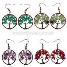 Natural Crystal Beads Wraped Tree of life Dangle Earrings Women Fashion Jewelry