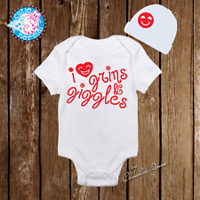 I love Giggles Baby Girl Clothes Onesie Hat Baby Shower Gift Set Newborn Infant
