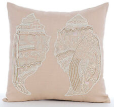 Beige Cotton Linen 40x40 cm Beaded Sea Shell Throw Cushions Cover - Shell Mates