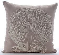 Beige Cotton Linen 65x65 cm Beaded Oyster Euro Cushion Shams - Scallop Shell