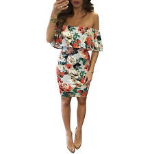 Women Summer Sexy Floral Printed Off Shoulder Evening Party Short Mini Dress