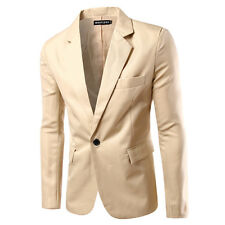 Mens Suit Collar One Button Slim Fit Coat Short Casual Solid Blazer Outwear New